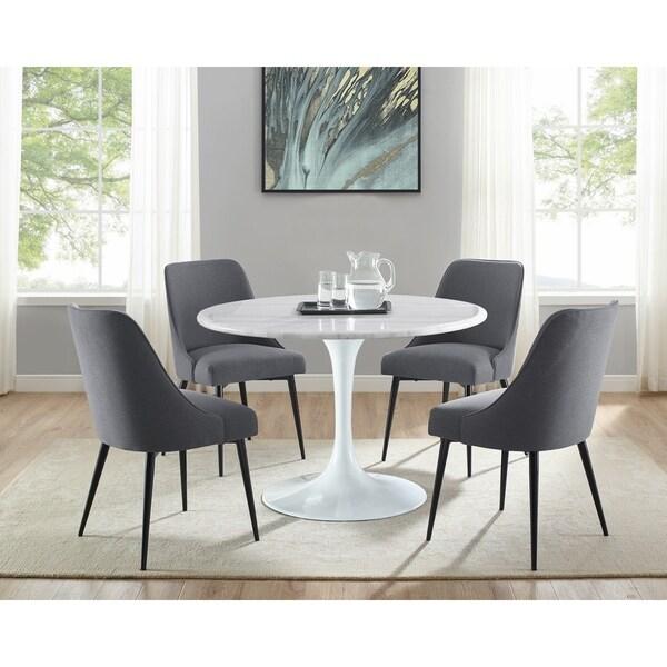 Carson Carrington Fagared Mid-Century Modern White Marble 5-Piece Dining Set