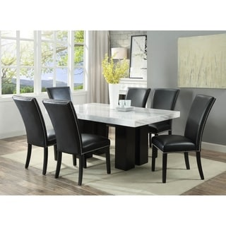 Gracewood Hollow Mhlanga White Marble Rectangle 7-piece Dining Set