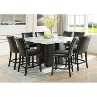 Gracewood Hollow Mhlanga White Marble Square 9-piece Counter-height Dining Set