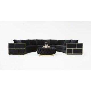 Divani Casa Ritner Modern Black Velvet Circular Sectional Sofa