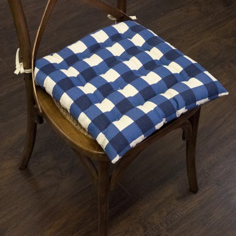 """Buffalo Check Tufted Chair Pads (16""""x16"""") Navy - 16""""x16"""""""