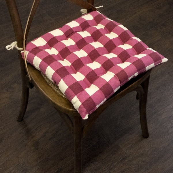 "Buffalo Check Tufted Chair Pads (16""x16"") Burgundy - 16""x16"""