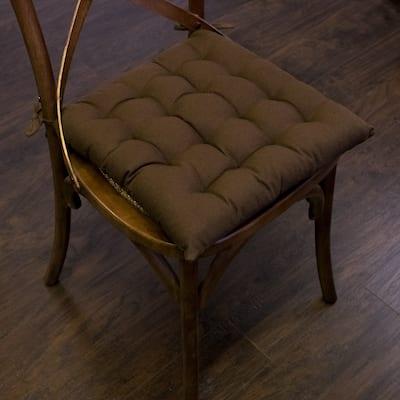 "Chocolate Tufted Chair Pads (16""x16"") - 16""x16"""