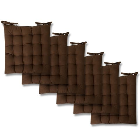 "Chocolate Tufted Chair Pads (16""x16"") - 16""x16"""