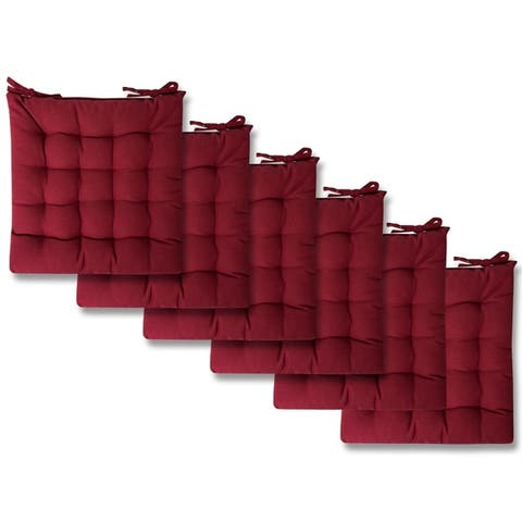 "Burgundy Tufted Chair Pads (16""x16"") - 16""x16"""
