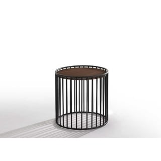Carbon Loft Calacino Modern Walnut and Black Round End Table
