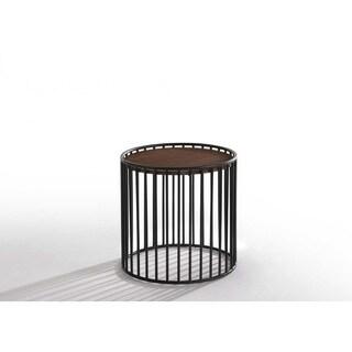 Carbon Loft Calacino Modern Walnut and Black Round End Table