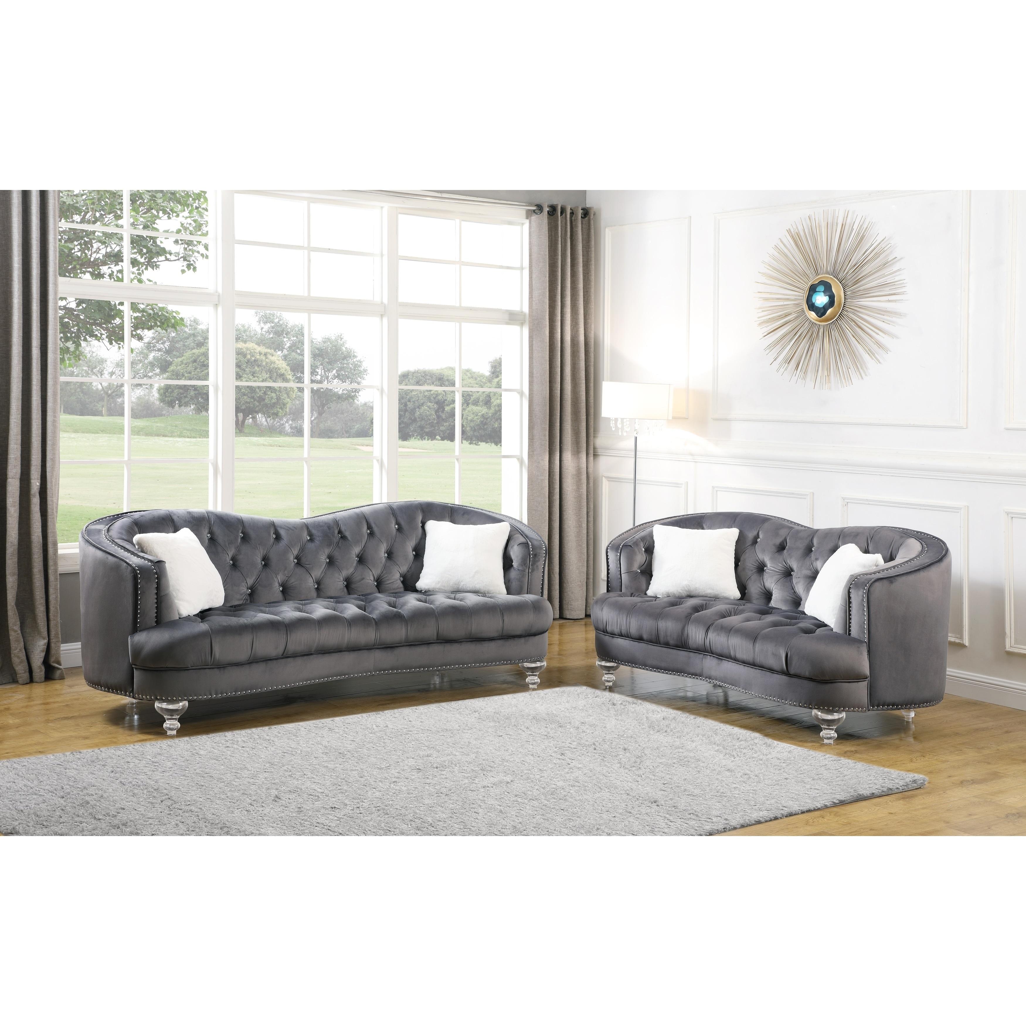 Best Quality Furniture 2-piece Velvet Tufted Sofa And Loveseat Set - On Sale - Overstock - 27017223 - Dark Grey