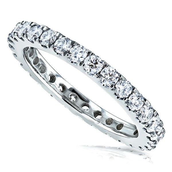 Annello by Kobelli 14k Gold 1ct Lab-grown Diamond Prong Eternity Women's Wedding Band. Opens flyout.
