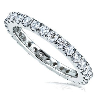 Annello by Kobelli 14k Gold 1ct TDW Eternity Diamond Wedding Band