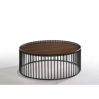 Carbon Loft Calacino Modern Walnut and Black Round Coffee Table