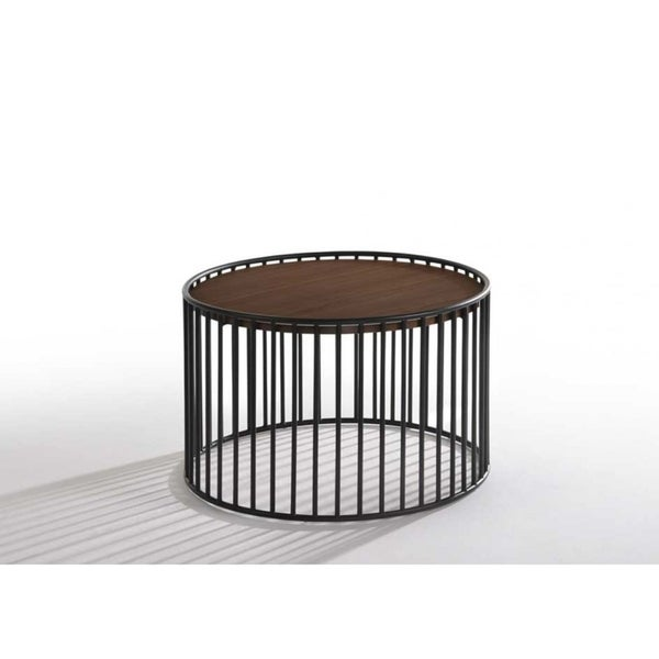 Carbon Loft Calacino Modern Walnut and Black Round Tea Table