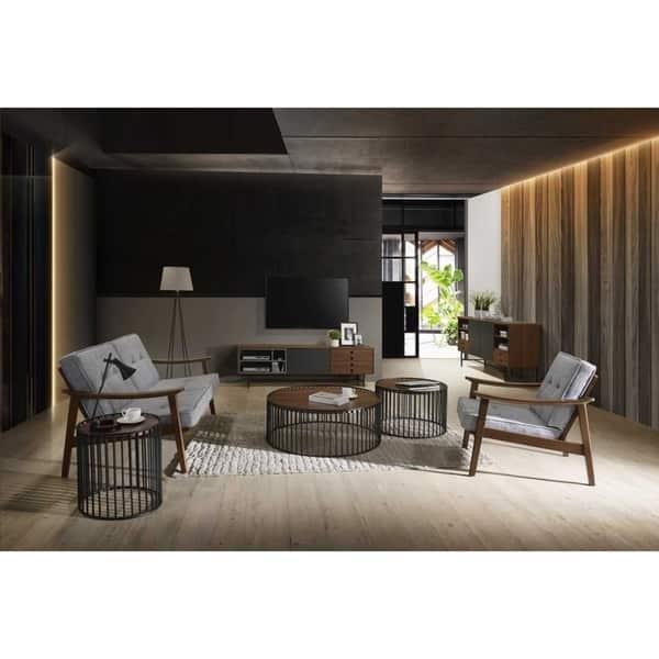 Carbon Loft Calacino Modern Walnut And Black Round Tea Table