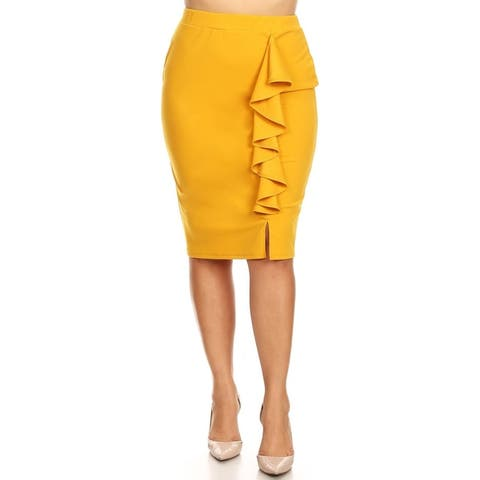 Women's Solid Basic Lightweight Knee Length Ruffled Trim Plus Size Pencil Skirt