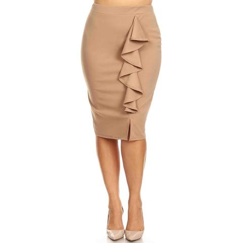 Women's Solid Basic Lightweight Knee Length Ruffled Trim Plus Size Pencil Skirt