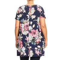 Women's Casual Plus Size Short Sleeve Side Pockets Tunic Style Dress