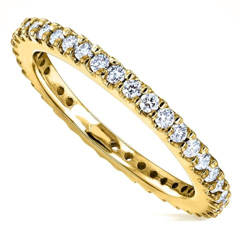 Annello by Kobelli 14k Gold 1/2ct TDW Round Diamond Prong Eternity Women's Wedding Band