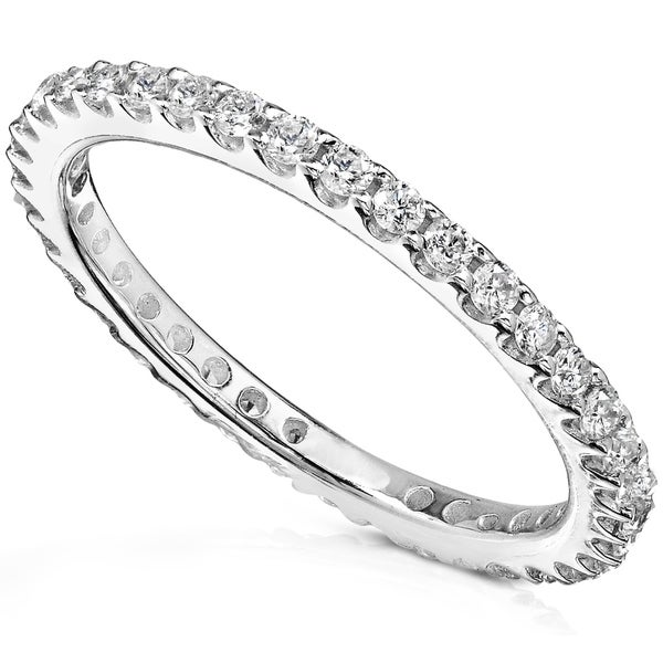 Annello by Kobelli 14k Gold 1/2ct TDW Round Diamond Prong Eternity Women's Wedding Band. Opens flyout.