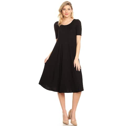 a66320281a67 Women's Solid Casual Loose Fit Soft Jersey Knit Oversize A-Line Midi Dress