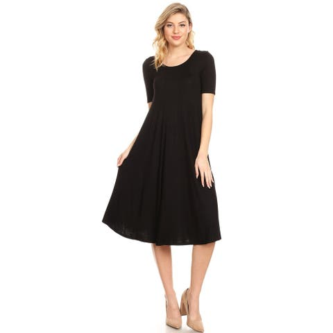 Women's Solid Casual Loose Fit Soft Jersey Knit Oversize A-Line Midi Dress
