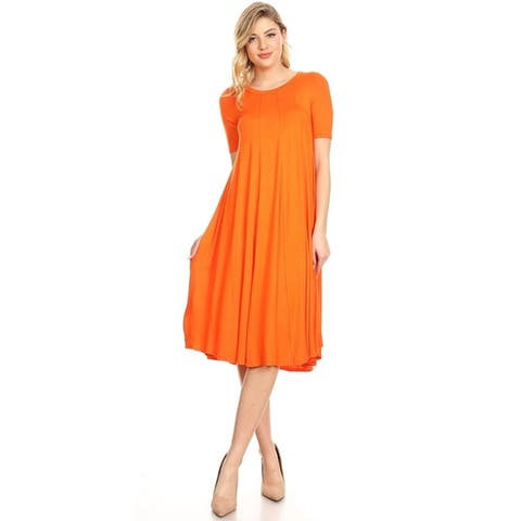 07311a016c4 Women s Solid Casual Loose Fit Soft Jersey Knit Oversize A-Line Midi Dress