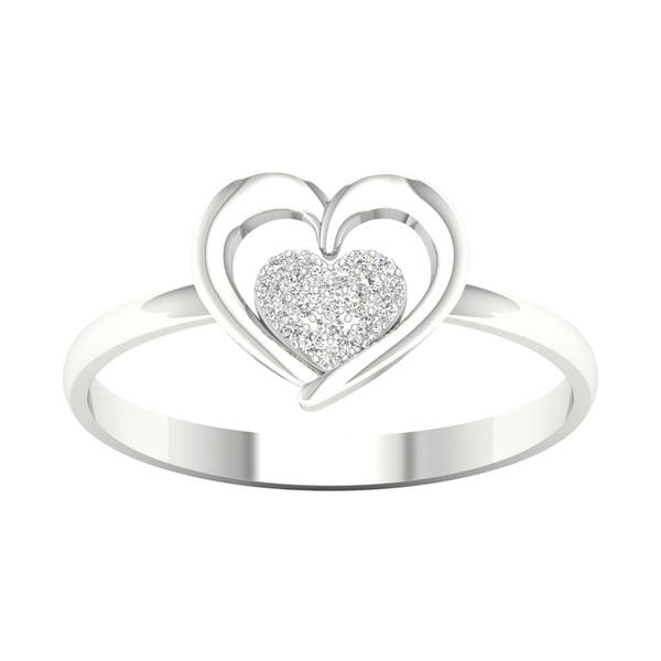 3866d190f73 Shop 1/20ct TDW Diamond Heart Ring in Sterling Silver by De Couer ...