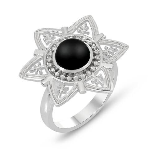 .925 Sterling Silver Black Onyx Star Shape Ring