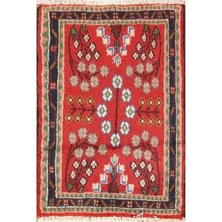 "Vintage Hamedan Geometric Hand Knotted Wool Persian Small Area Rug - 2'5"" x 1'9"""
