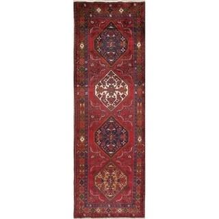 "Heriz Geometric Hand Knotted Wool Persian Rug - 10'9"" x 3'6"" Runner"