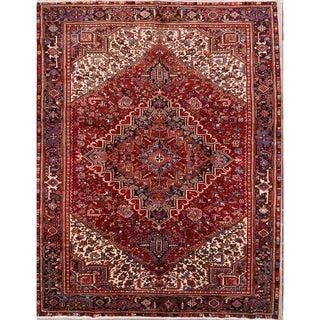 "Heriz Geometric Hand Knotted Wool Persian Area Rug - 12'6"" x 9'7"""