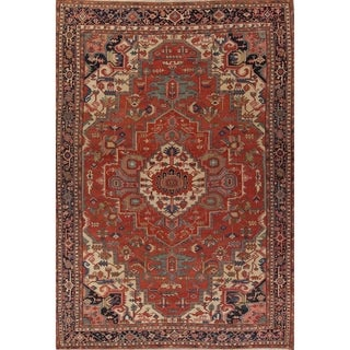 "Antique Heriz Medallion Hand Knotted Wool Persian Large Area Rug - 16'4"" x 12'5"""