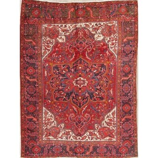 "Vintage Heriz Geometric Hand Knotted Wool Persian Area Rug - 10'8"" x 7'8"""