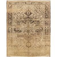 "Vintage Heriz Geometric Hand Knotted Wool Persian Area Rug - 12'10"" x 10'1"""
