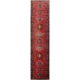 "Vintage Heriz Geometric Hand Knotted Wool Persian Rug - 12'10"" x 3'3"" Runner"