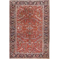 """Antique Heriz Geometric Hand Knotted Wool Persian Area Rug - 10'11"""" x 7'7"""""""