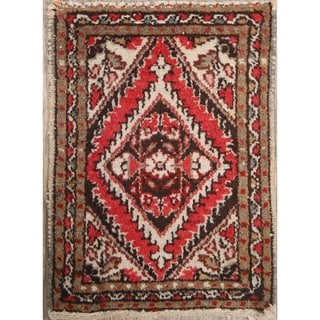 "Vintage Hamedan Geometric Hand Knotted Wool Persian Area Rug - 1'11"" x 1'4"" Square"