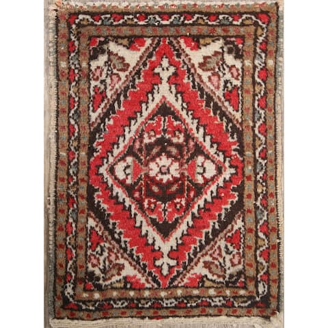 """Vintage Hamedan Geometric Hand Knotted Wool Persian Area Rug - 1'11"""" x 1'4"""" Square"""