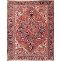 """Antique Heriz Geometric Hand Knotted Wool Persian Area Rug - 12'5"""" x 10'7"""""""