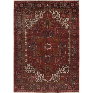 """Antique Heriz Geometric Hand Knotted Wool Persian Area Rug - 13'4"""" x 9'8"""""""