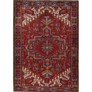 "Vintage Heriz Geometric Hand Knotted Wool Persian Area Rug - 11'3"" x 7'9"""