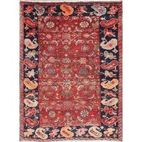 """Antique Heriz Geometric Hand Knotted Wool Persian Area Rug - 5'2"""" x 3'9"""""""