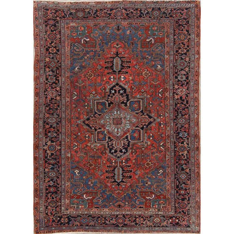 """Antique Heriz Geometric Hand Knotted Wool Persian Area Rug - 10'1"""" x 7'1"""""""