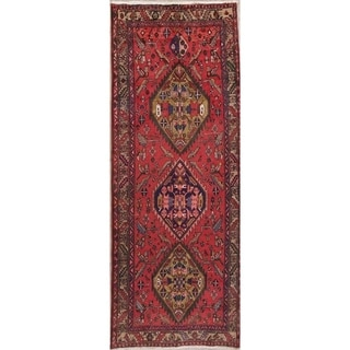 "Vintage Heriz Geometric Hand Knotted Wool Persian Rug - 10'2"" x 4'0"" Runner"