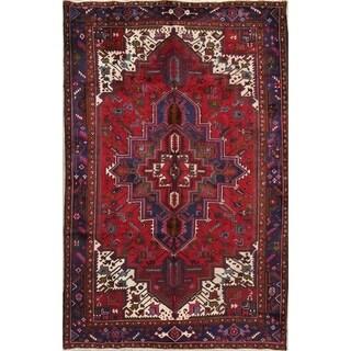 "Vintage Heriz Geometric Hand Knotted Wool Persian Area Rug - 9'8"" x 6'7"""