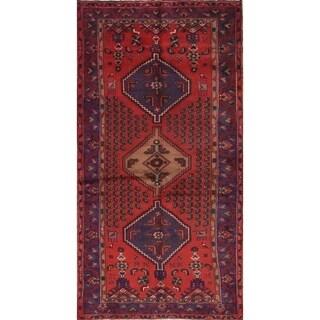 "Vintage Hamedan Geometric Hand Knotted Wool Persian Area Rug - 7'1"" x 3'8"""