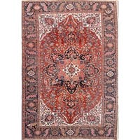 """Antique Heriz Geometric Hand Knotted Wool Persian Area Rug - 11'9"""" x 8'1"""""""