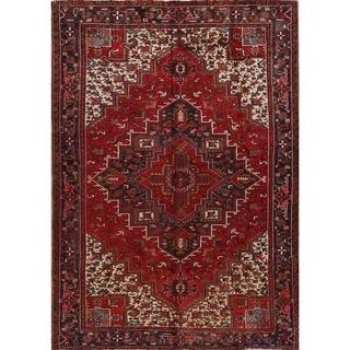 "Vintage Heriz Geometric Hand Knotted Wool Persian Area Rug - 10'10"" x 7'8"""