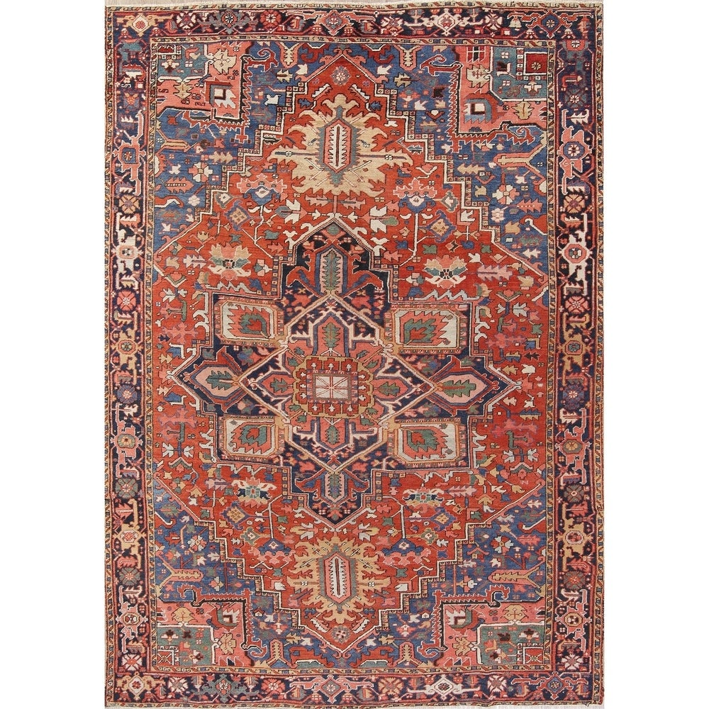 Rug Sourceantique Heriz Geometric Hand Knotted Wool Persian Area Rug 12 3 X 8 7 12 3 X 8 7 Orange Dailymail