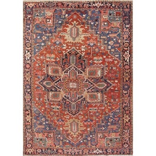 """Antique Heriz Geometric Hand Knotted Wool Persian Area Rug - 12'3"""" x 8'7"""""""