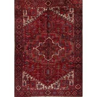 "Vintage Heriz Geometric Hand Knotted Wool Persian Area Rug - 11'1"" x 7'8"""